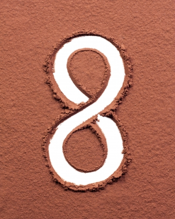 Number 8 made of cocoa powder on white background photo