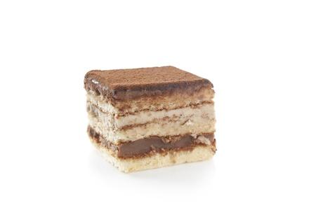 Delicious individual, chocolate cake isolated on white Stock Photo - 17164113