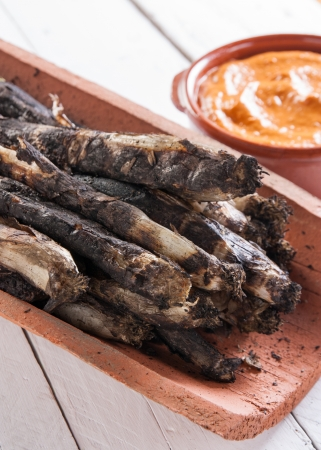 Traditional roasted calsots on wooden table Stock Photo - 18094788