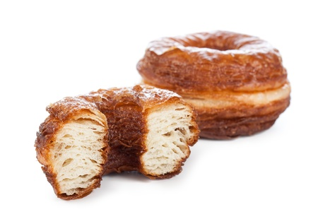 Delicious croissant and doughnut mixture isolated on white Stock Photo