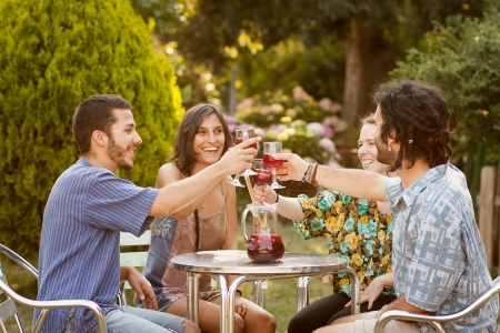 friends at bar: Group of friends having a toast with sangria on a bar terrace Stock Photo