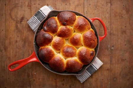 Brioche ball pie in a pan overlook shot Stock Photo - 22933965
