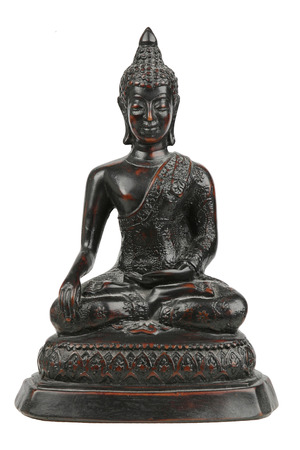 Small black buddha statue carved from wood, separated on a white background.