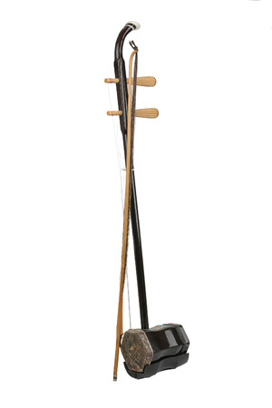Erhu, a chinese violin, separated on a white background.