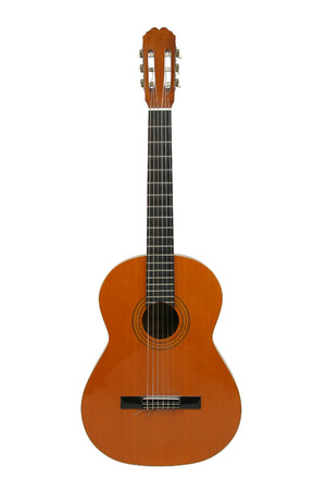 Spanish or classical acoustic guitar, separated on  a white background.