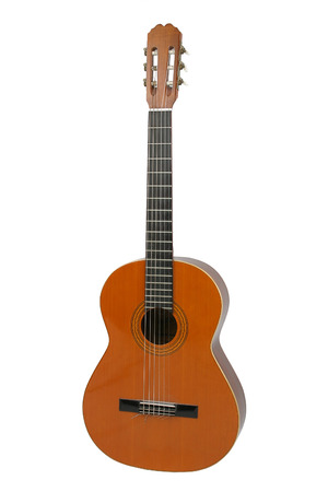nylon string: Spanish or classical acoustic guitar, separated on  a white background.