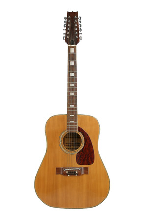 12-string acoustic guitar, separated on  a white background. Stock Photo