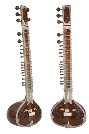 Sitar, a string instrument from India, 2 angles, separated on a white background.