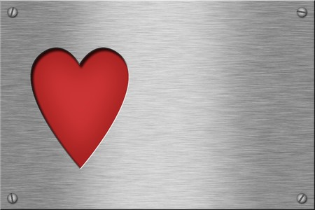 Metal plate series: heart. With room for text.