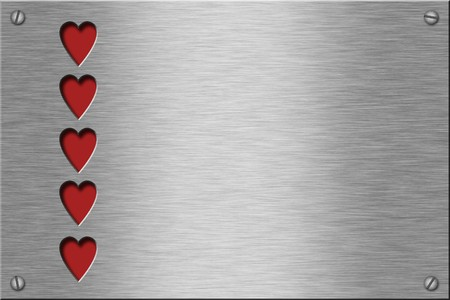 Metal plate series: hearts. With room for text.