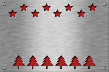 Metal plate series: christmas trees and stars. With room for text. Stock Photo