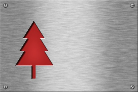 Metal plate series: christmas tree. With room for text. Stock Photo