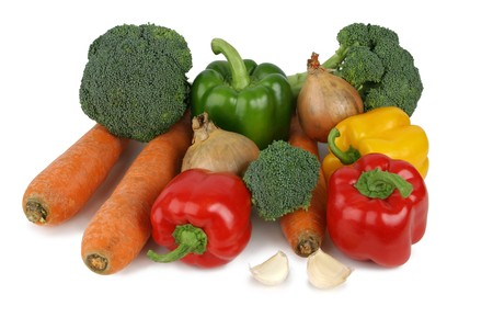 Assorted vegetables, isloated on a white background, clipping path included.