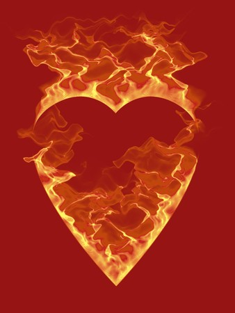 Burning heart on a red background. Part of heart series.