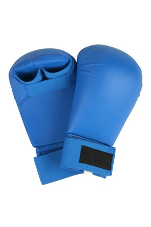 Blue karate gloves. Isolated on white. path included.