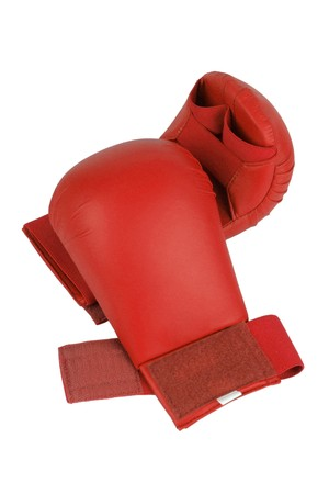 Red karate gloves. Isolated on white. path included.