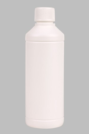 White plastic bottle. Isolated on grey. path included.