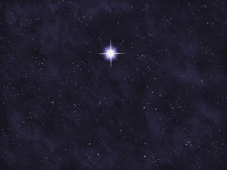 black star: Starfield series: bright star. Stock Photo