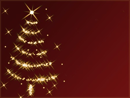 feliz: Abstract christmas tree made of golden twinkling stars against red background.