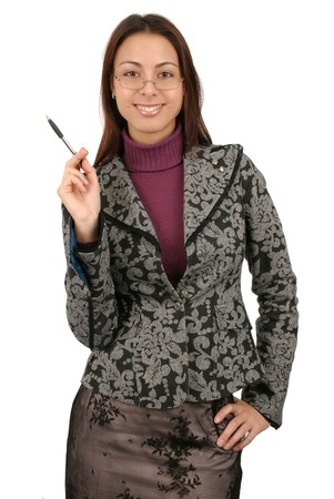 Attractive young business woman with glasses holding a pen.