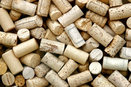 closed corks: Close-up of a lot of corks. Stock Photo