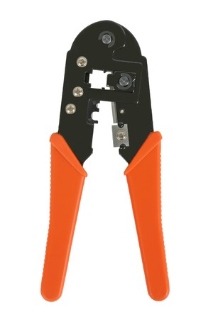 crimper: Crimp tool, used for attaching RJ-45 connectors to computer network cables. Isolated on white.