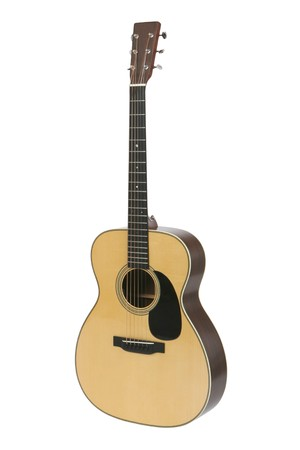 High-end steel-string acoustic guitar (Martin &amp, Co). Logo removed. Isolated on white.