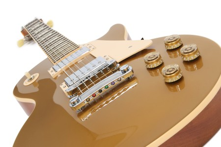 Electric guitar (Gibson Les Paul gold top), isolated on white. Stock Photo