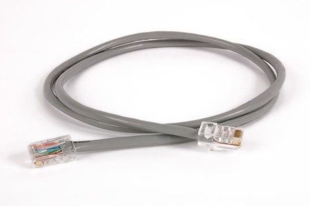 Computer network cable. Isolated on white. Stock Photo