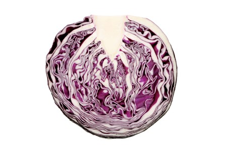 Sliced red cabbage. Isolated on white.