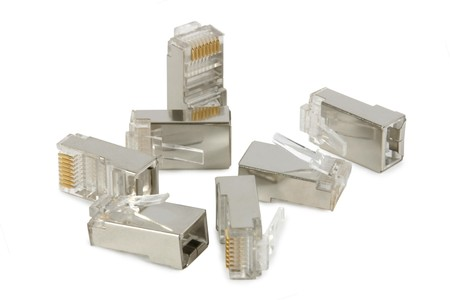 Handful of RJ-45 connectors, used on computer network cables. Isolated on white.  Stock Photo