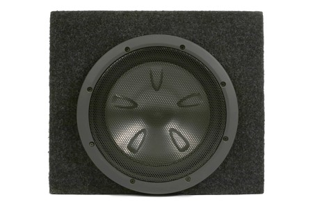 dolby: Black subwoofer. Isolated on white