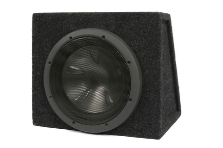 dolby: Black subwoofer. Isolated on white.