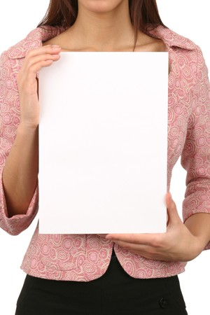 noteboard: Young woman holding an empty card. Insert your own text.