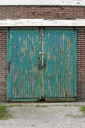 Worn wooden door. Stock Photo