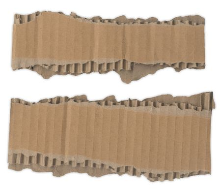 Two strips of corrugated cardboard with torn edges Stock Photo