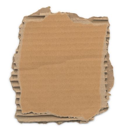 corrugated cardboard: Piece of corrugated cardboard with torn edges