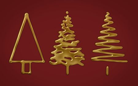 Three abstract gold or golden christmas trees on red Stock Photo