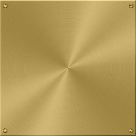 Gold plate, brushed in circles, with screws. Stock Photo