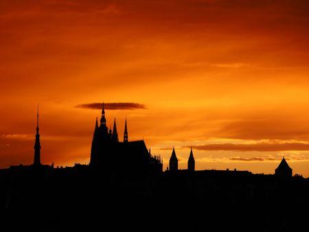 Prag Sonnenuntergang  Lizenzfreie Bilder