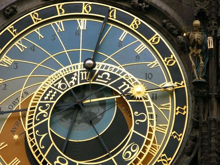 czech culture: Medieval astronomical clock in Prague Stock Photo