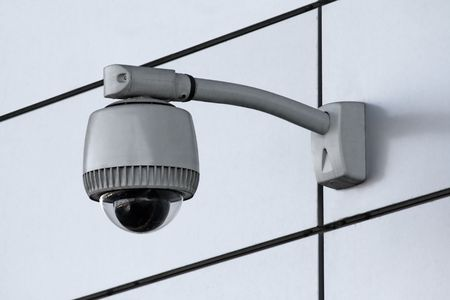 private security: wide-angle security camera Stock Photo