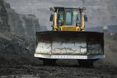 bulldozer in coal mine photo