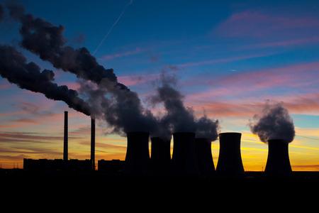 Power plant silhouette on evening sky Stock Photo - 28467285