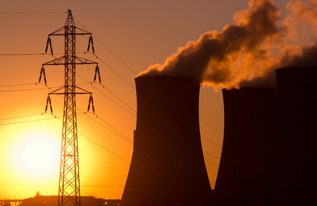 nuclear power station: power plant at sunset