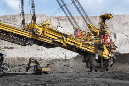 maquinaria pesada: La minería del carbón en la mina a cielo abierto