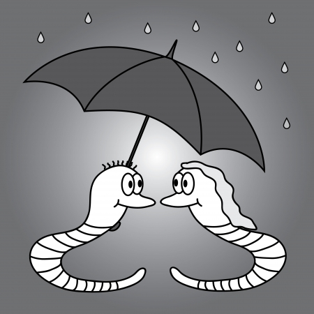 two worms and rainy weather  Vector