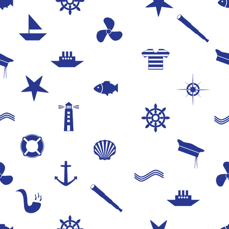 nautical icon seamless pattern eps10 Vector
