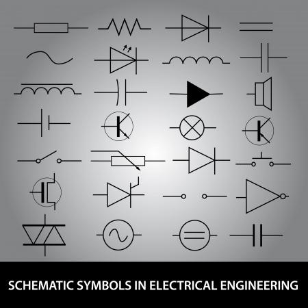 전기 공학 아이콘 세트 회로도 심볼 일러스트