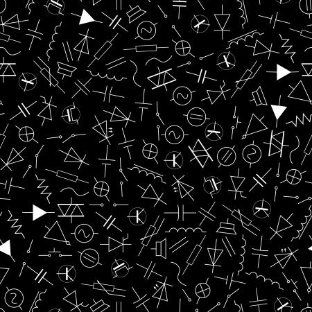 전기 공학 패턴의 스키 매틱 기호 일러스트
